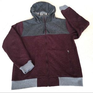 The North Face Fleece Full Zip Hoodie Burgundy- L